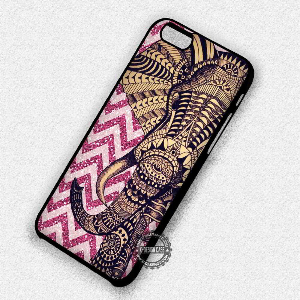 Elephant Pink Glitter Aztec Pattern - iPhone 7 6 Plus 5c 5s SE Cases & Covers - Kawung Design  - 1