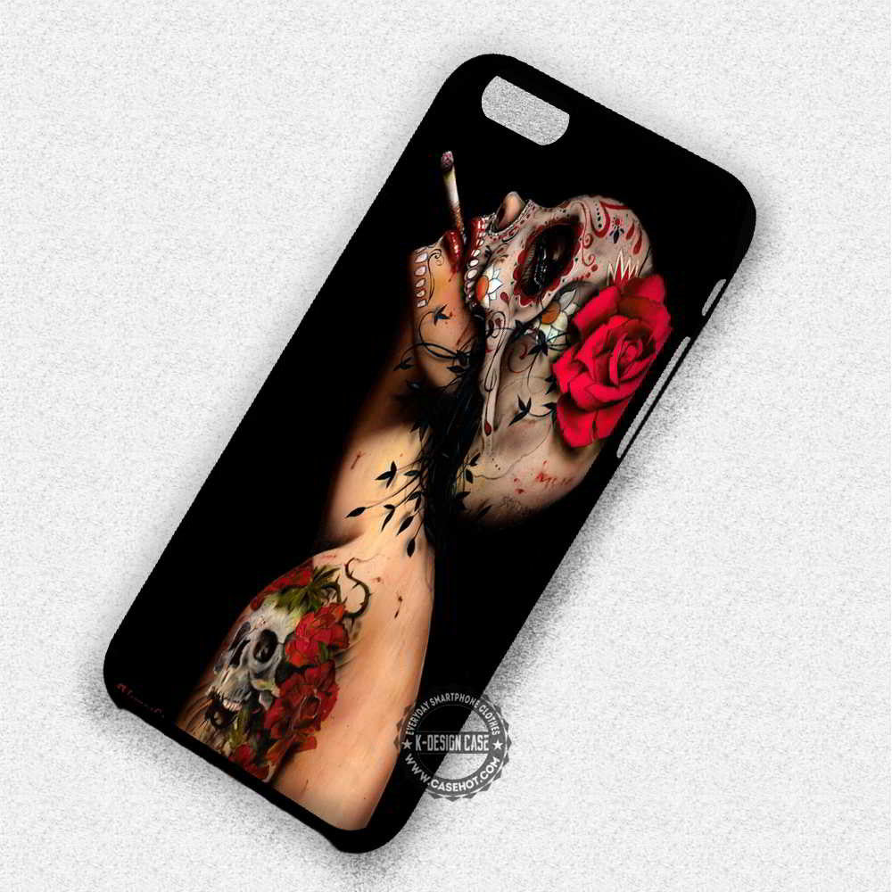 Floral Skull Brian Viveros - iPhone 7 6 Plus 5c 5s SE Cases & Covers - Kawung Design  - 1