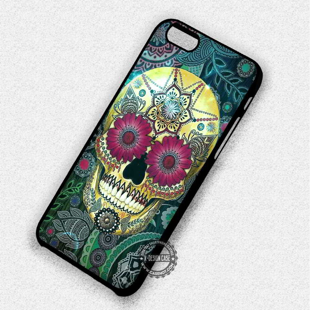 Floral Skull Flower - iPhone 7 6 Plus 5c 5s SE Cases & Covers - Kawung Design  - 1