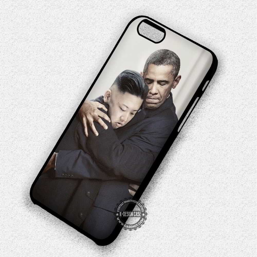 Obama Kim Jong Un Hugging - iPhone 7 6 Plus 5c 5s SE Cases & Covers - Kawung Design  - 1