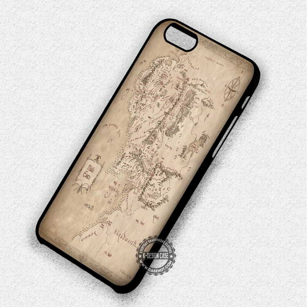 Map Middle Earth - iPhone 7 6 5 SE Cases & Covers - Kawung Design  - 1