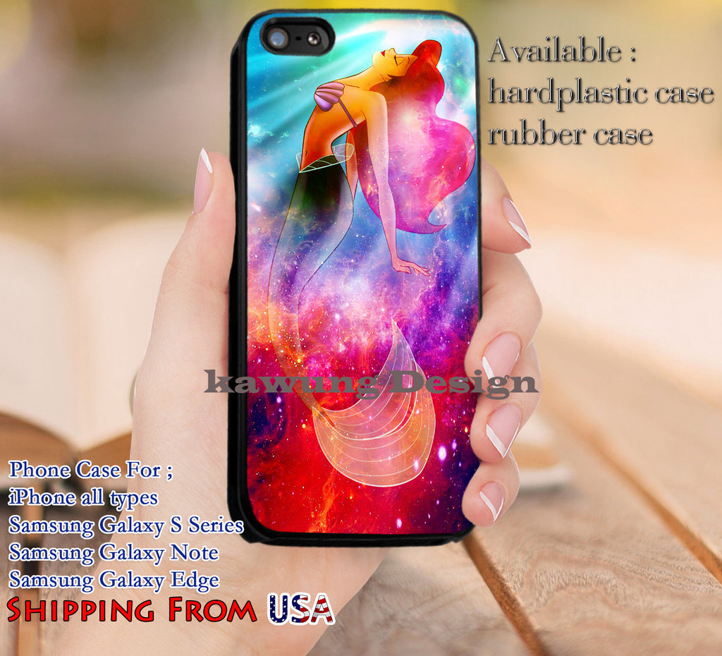 Ariel Mermaid Galaxy Disney iPhone 6s 6 6s+ 5c 5s Cases Samsung Galaxy s5 s6 Edge+ NOTE 5 4 3 #cartoon #disney #animated #theLittleMermaid dl13 - Kawung Design  - 1