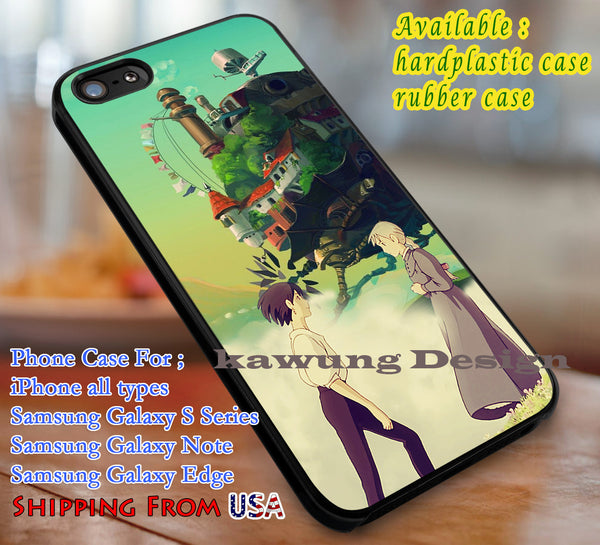 Moving Castle, Howl's Moving castle, case/cover for iPhone 4/4s/5/5c/6/6+/6s/6s+ Samsung Galaxy S4/S5/S6/Edge/Edge+ NOTE 3/4/5 #cartoon #anime #howl'smovingcastle dl1 - Kawung Design  - 1