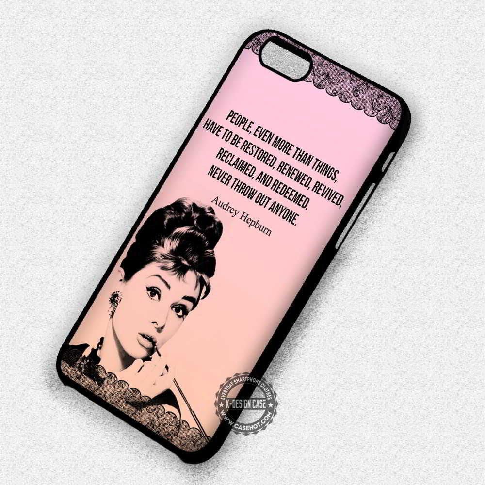 Never Throw Out Anyone Audrey Hepburn Quote - iPhone 7 6 Plus 5c 5s SE Cases & Covers - Kawung Design  - 1