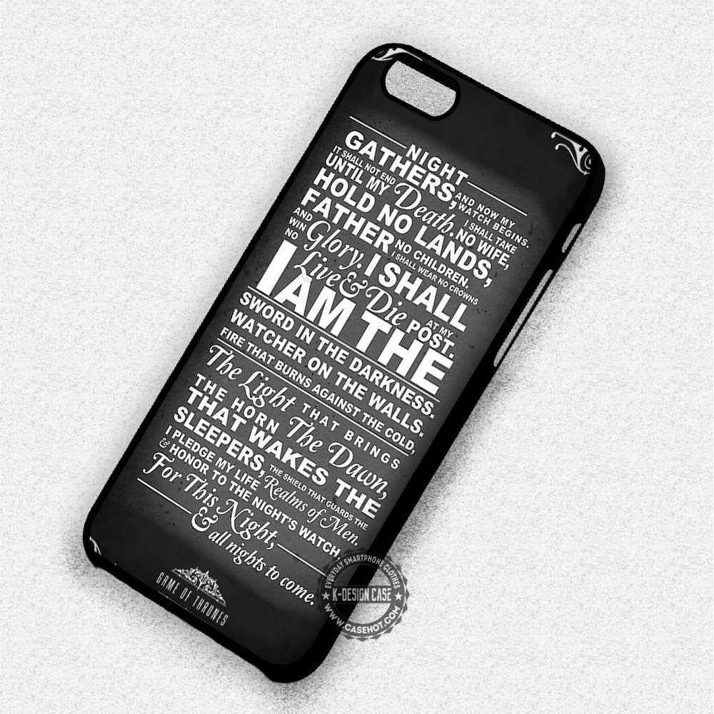 Night Gathers Game of Thrones Quote Night Watch - iPhone 7 6 Plus 5c 5s SE Cases & Covers - Kawung Design  - 1