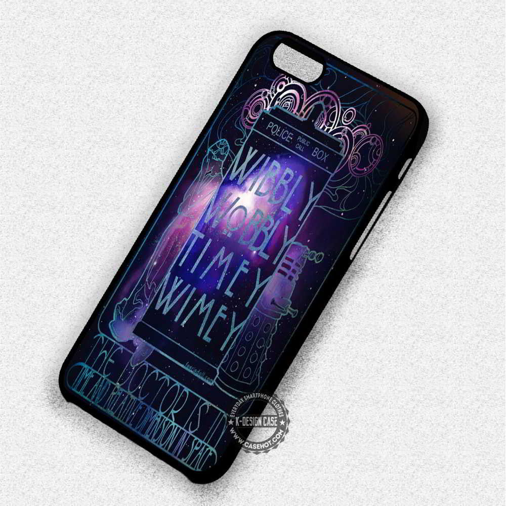 Police Box Quote Dr Who Tardis Galaxy - iPhone 7 6 Plus 5c 5s SE Cases & Covers - Kawung Design  - 1