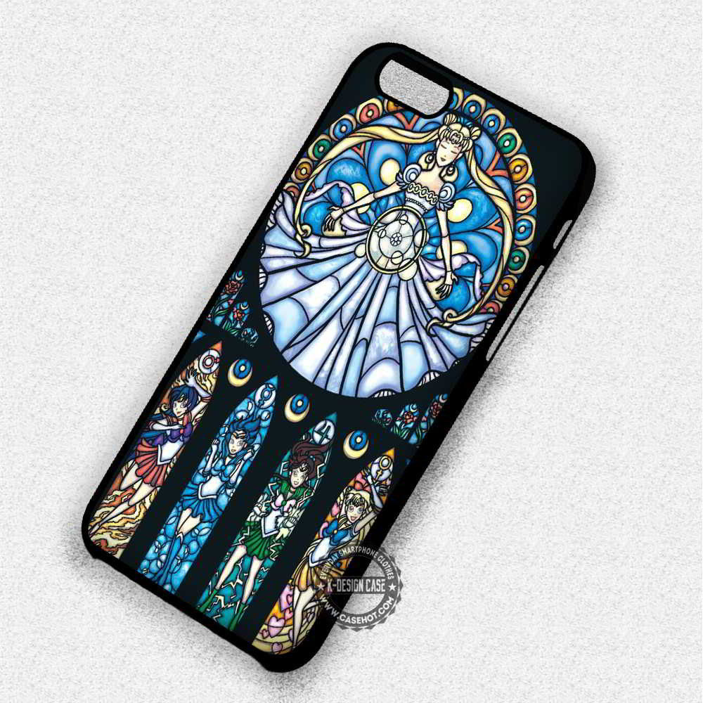 Pretty Soldiers Sailor Moon Stainned Glass - iPhone 7 6 Plus 5c 5s SE Cases & Covers - Kawung Design  - 1