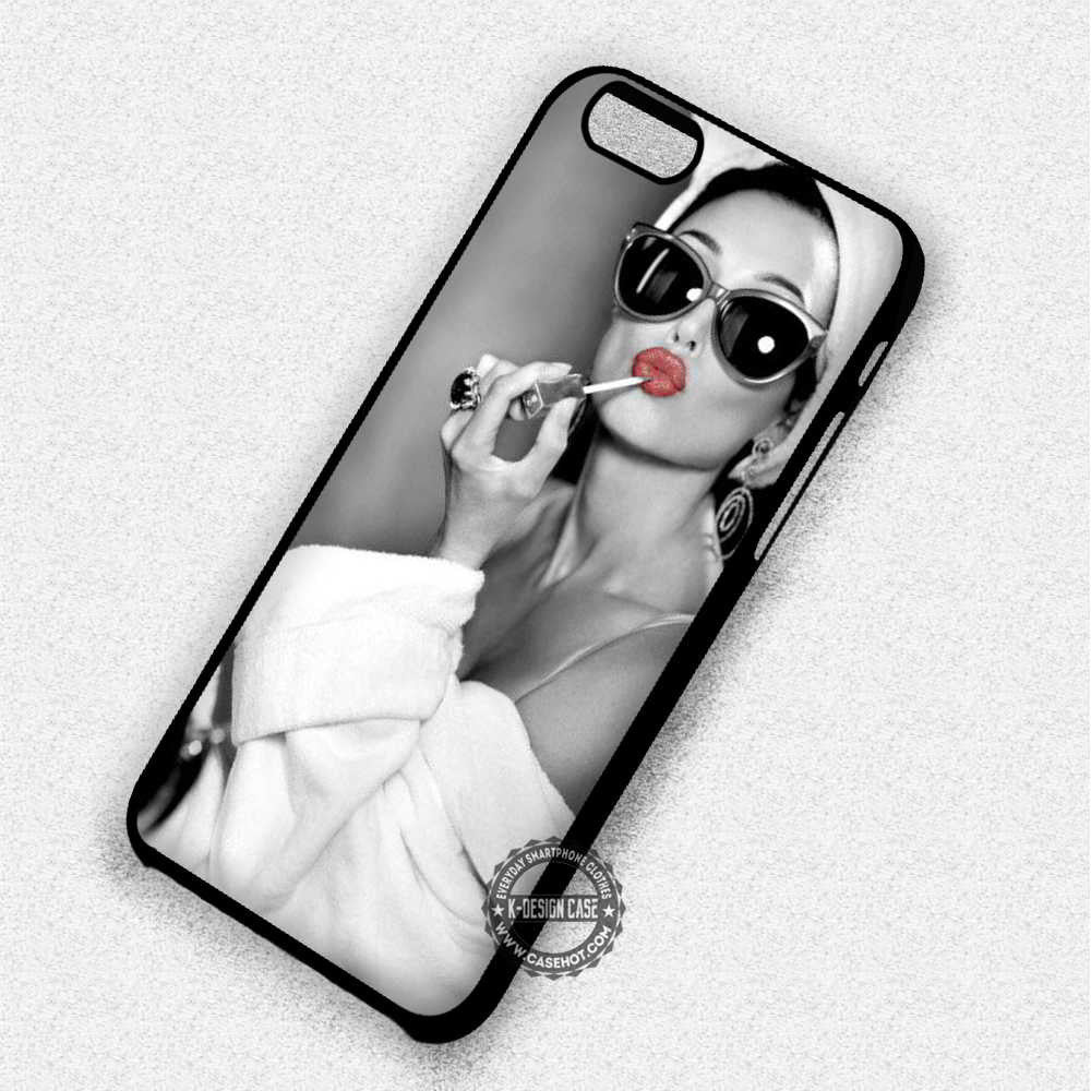 Red Audrey Hepburn Lipstick - iPhone 7 6 Plus 5c 5s SE Cases & Covers - Kawung Design  - 1