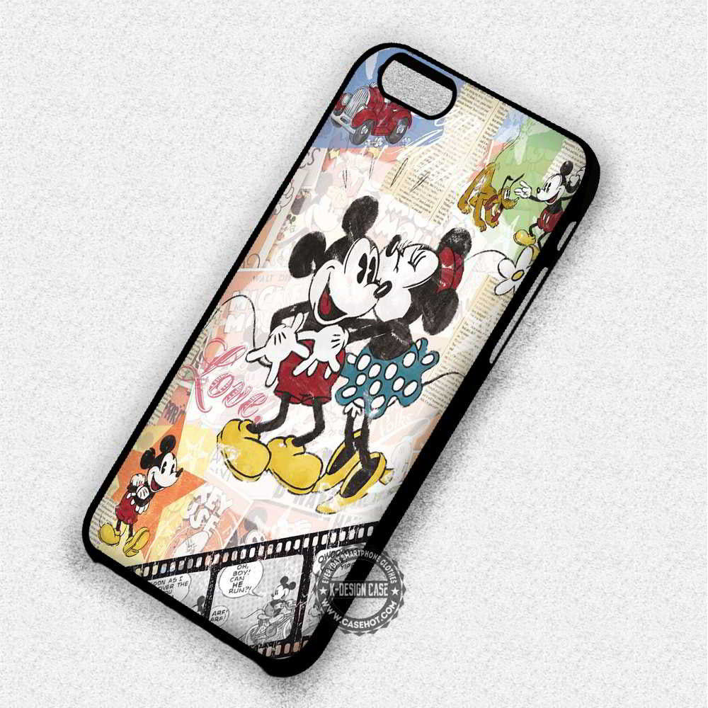 Retro Mickey Minnie Mouse Disney - iPhone 7 6 5 SE Cases & Covers - Kawung Design  - 1