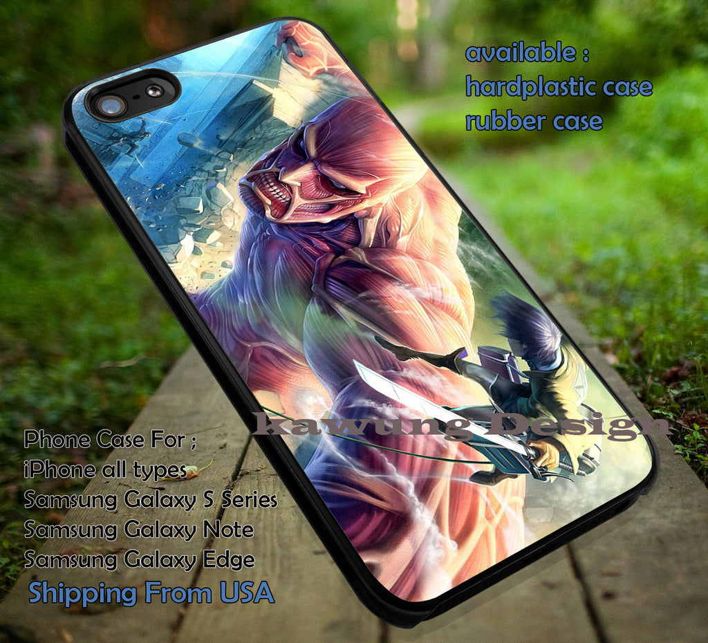 Anime Attack on Titan Fight with Colossal iPhone 6s 6 6s+ 5c 5s Cases Samsung Galaxy s5 s6 Edge+ NOTE 5 4 3 #cartoon #anime #attackontitan dt - Kawung Design  - 1