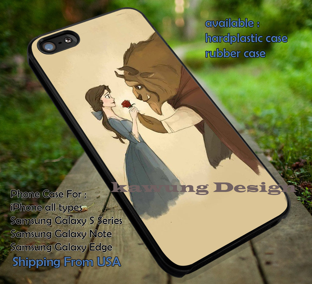 Beauty and The Beast Sweet Moment Drawing Art iPhone 6s 6 6s+ 5c 5s Cases Samsung Galaxy s5 s6 Edge+ NOTE 5 4 3 #cartoon #disney #animated #BeautyAndTheBeast dt - Kawung Design  - 1