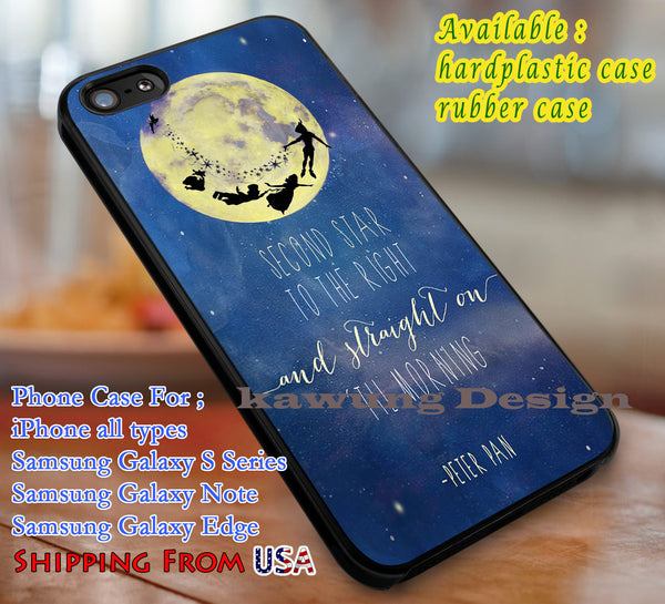 Second star to the right, Peter Pan, case/cover for iPhone 4/4s/5/5c/6/6+/6s/6s+ Samsung Galaxy S4/S5/S6/Edge/Edge+ NOTE 3/4/5 #cartoon #disney #peterpan  #animated #movie dl1 - Kawung Design  - 1