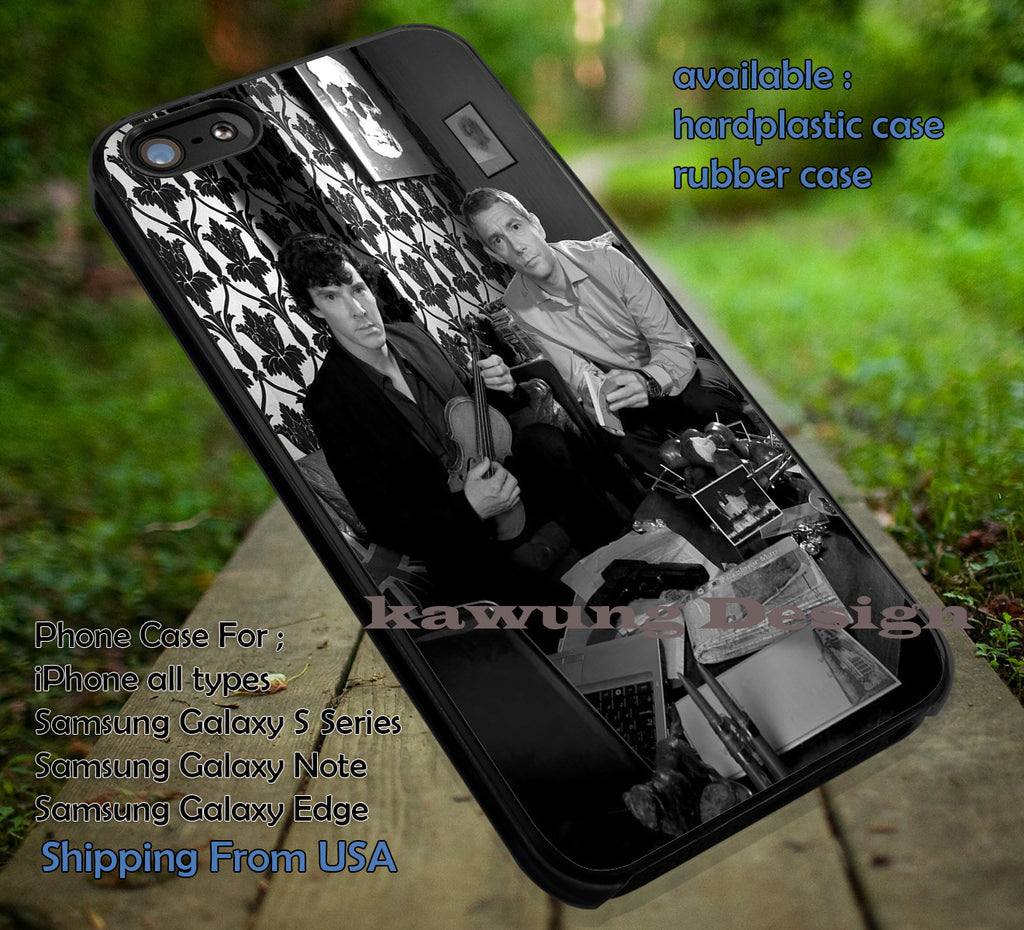 Benedicct Cumberbatch and Martin Freeman as Sherlock and John in BBC Sherlock iPhone 6s 6 6s+ 5c 5s Cases Samsung Galaxy s5 s6 Edge+ NOTE 5 4 3 #movie #supernatural #superwholock #sherlock #doctorWho dt - Kawung Design  - 1