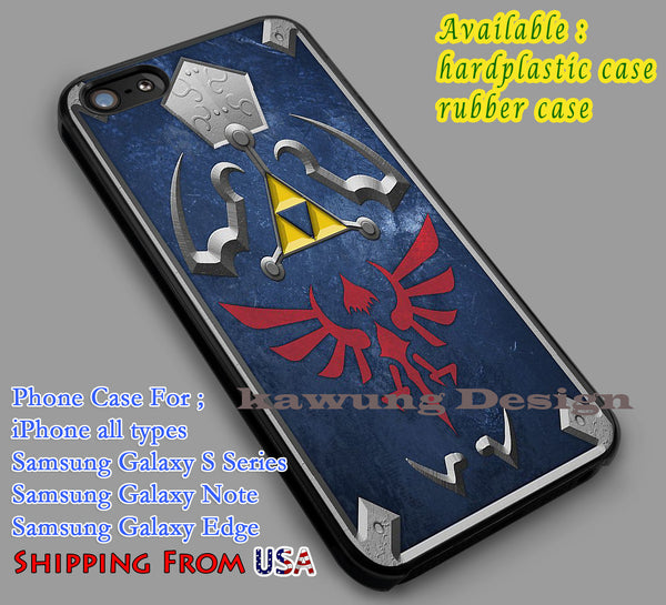 Legend of Zelda Hylian Shield iPhone 6s 6 plus 5s 5c 5 Cases Samsung Galaxy s5 s6 Edge+ NOTE 5 4 3 #cartoon #animE #TheLegendOfZelda #game dl5 - Kawung Design  - 1