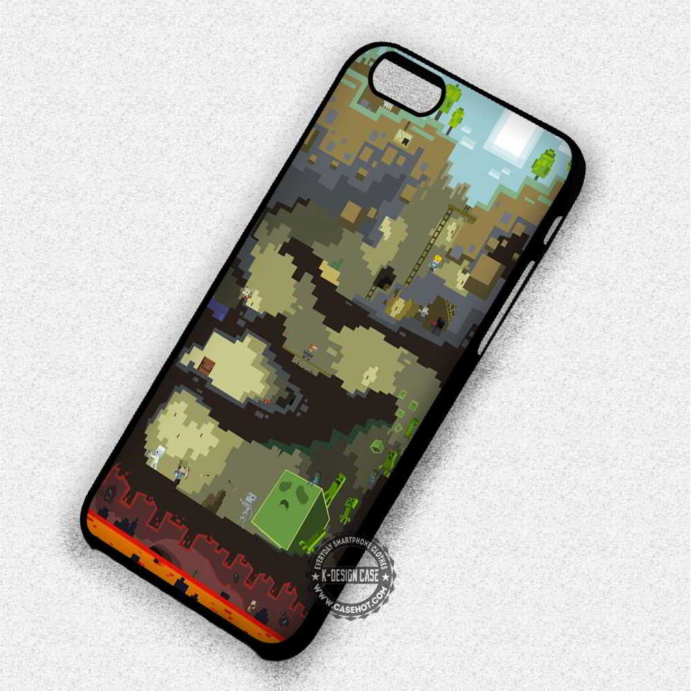 Underground Minecraft Creeper Maps - iPhone 7 6 Plus 5c 5s SE Cases & Covers - Kawung Design  - 1
