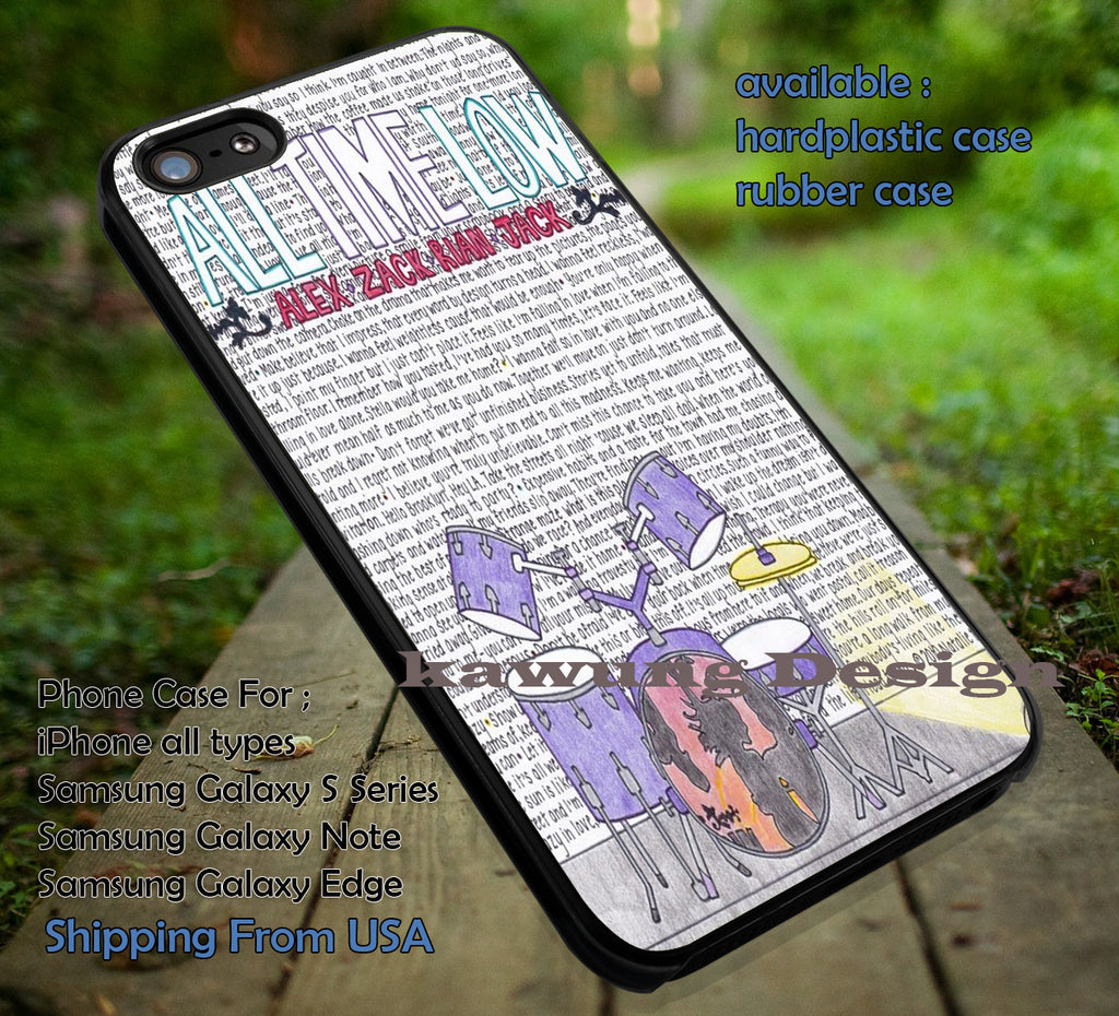 All Time Low Lyric Art with Illustration iPhone 6s 6 6s+ 5c 5s Cases Samsung Galaxy s5 s6 Edge+ NOTE 5 4 3 #music #atl dt - Kawung Design  - 1