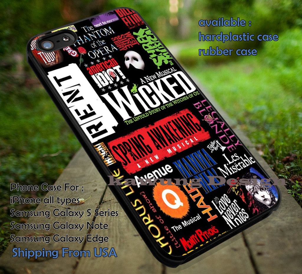 Broadway Musical Collage iPhone 6s 6 6s+ 5c 5s Cases Samsung Galaxy s5 s6 Edge+ NOTE 5 4 3 #music #wkd dt - Kawung Design  - 1