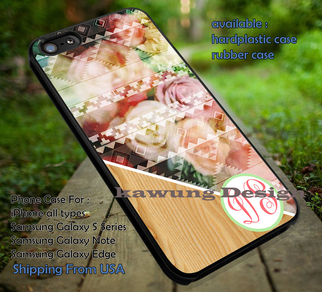 Aztec Tribal Pattern with Flower and Wood Monogram Personalized Custom iPhone 6s 6 6s+ 5c 5s Cases Samsung Galaxy s5 s6 Edge+ NOTE 5 4 3 #art dt - Kawung Design  - 1