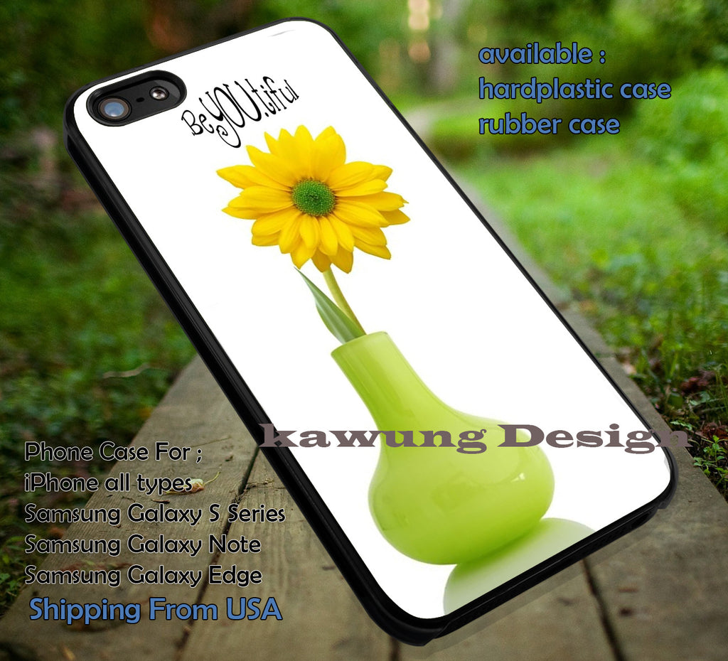 BeYOUtiful Quote Flower Minimalist White iPhone 6s 6 6s+ 5c 5s Cases Samsung Galaxy s5 s6 Edge+ NOTE 5 4 3 #art dt - Kawung Design  - 1