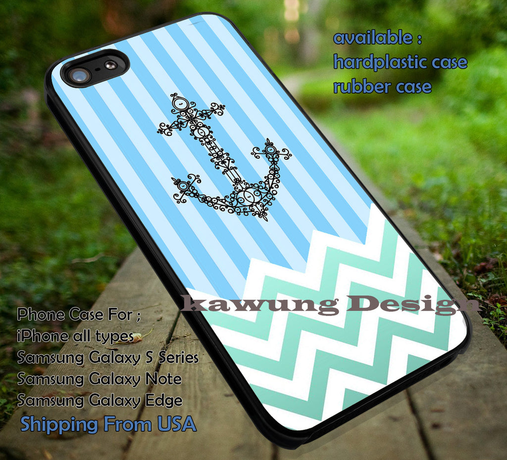 Chevron Green Stripe Blue Anchor iPhone 6s 6 6s+ 5c 5s Cases Samsung Galaxy s5 s6 Edge+ NOTE 5 4 3 #art dt - Kawung Design  - 1