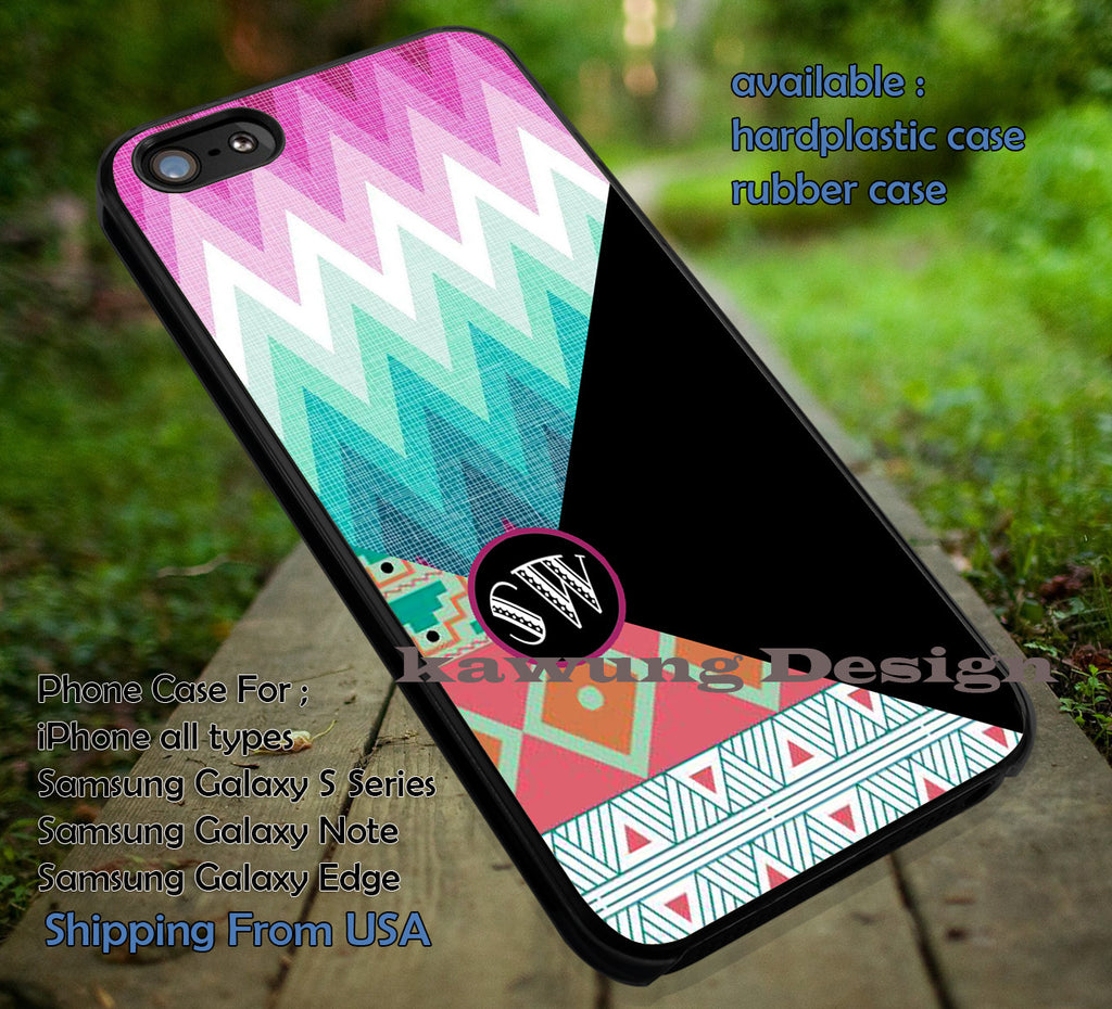 Chevron Tribal Colorful n Black with Monogram iPhone 6s 6 6s+ 5c 5s Cases Samsung Galaxy s5 s6 Edge+ NOTE 5 4 3 #art dt - Kawung Design  - 2