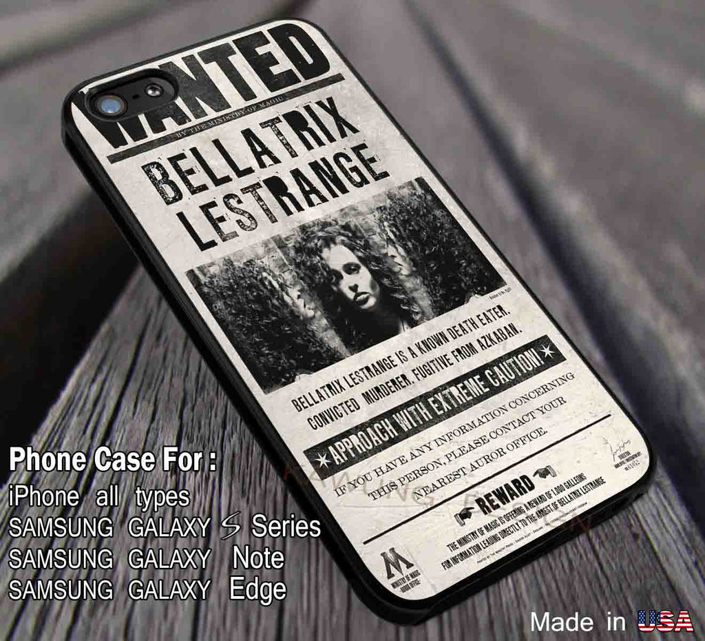 Harry Potter Bellatrix Lestrange Wanted Poster iPhone 8+ 7 6s Cases Samsung Galaxy S8 S7 edge NOTE 8 5 4