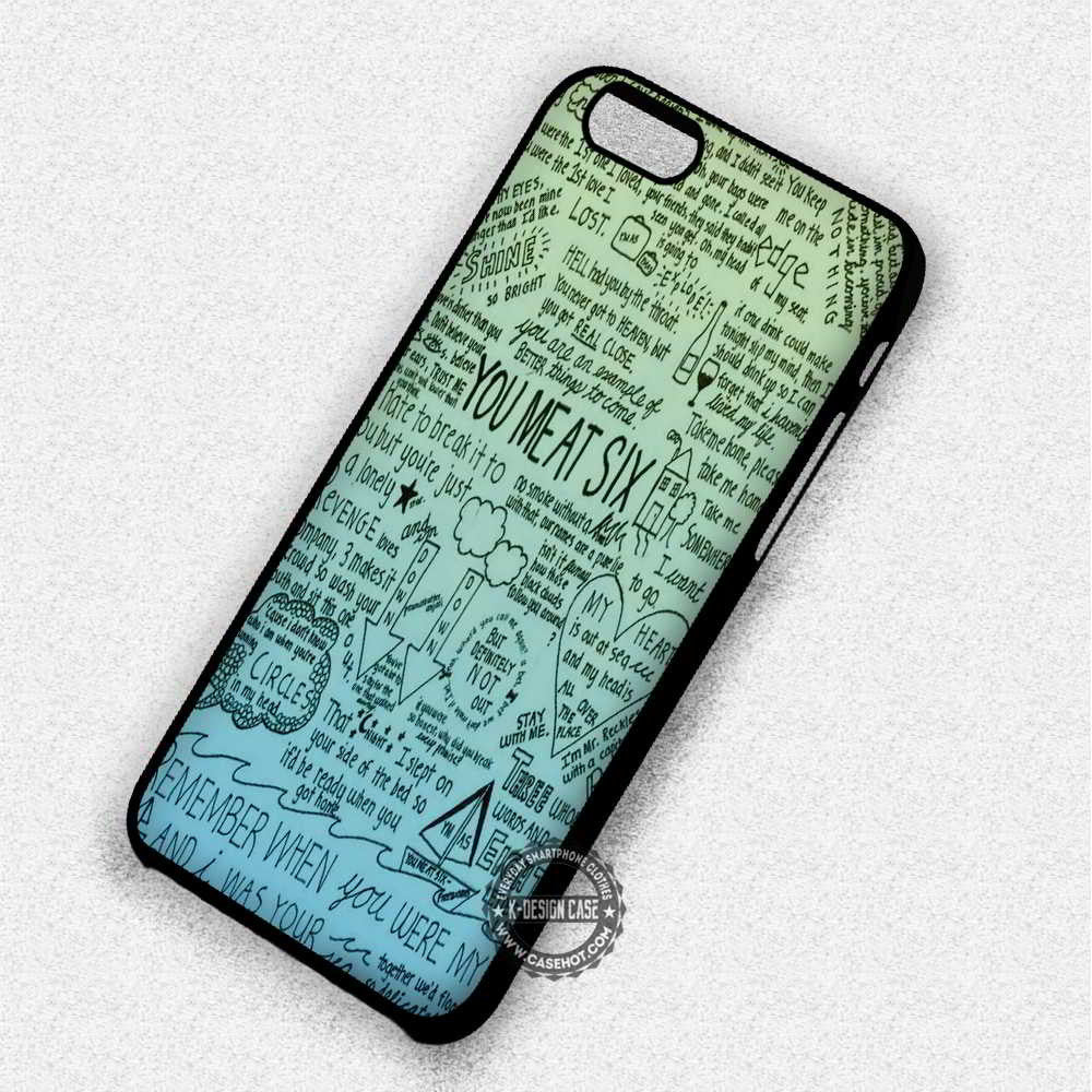 You Me At Six All Time Low Lyric - iPhone 7 6 5 SE Cases & Covers - Kawung Design  - 1