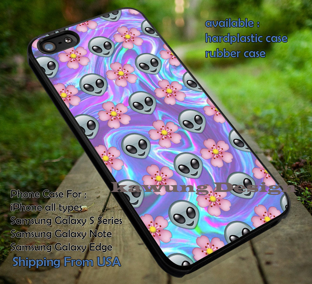 Alien Emoji Flower iPhone 6s 6 6s+ 6plus Cases Samsung Galaxy s5 s6 Edge+ NOTE 5 4 3 #art ii - Kawung Design  - 1