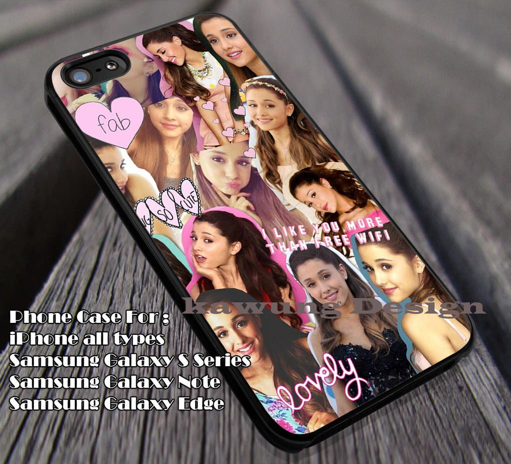Ariana Grande Cute Collage iPhone 4/4s/5/5c/6/6+/6s/6s+ Case Samsung Galaxy S4/S5/S6/Edge Cases NOTE 3/4/5 #music #arn ii - Kawung Design  - 1