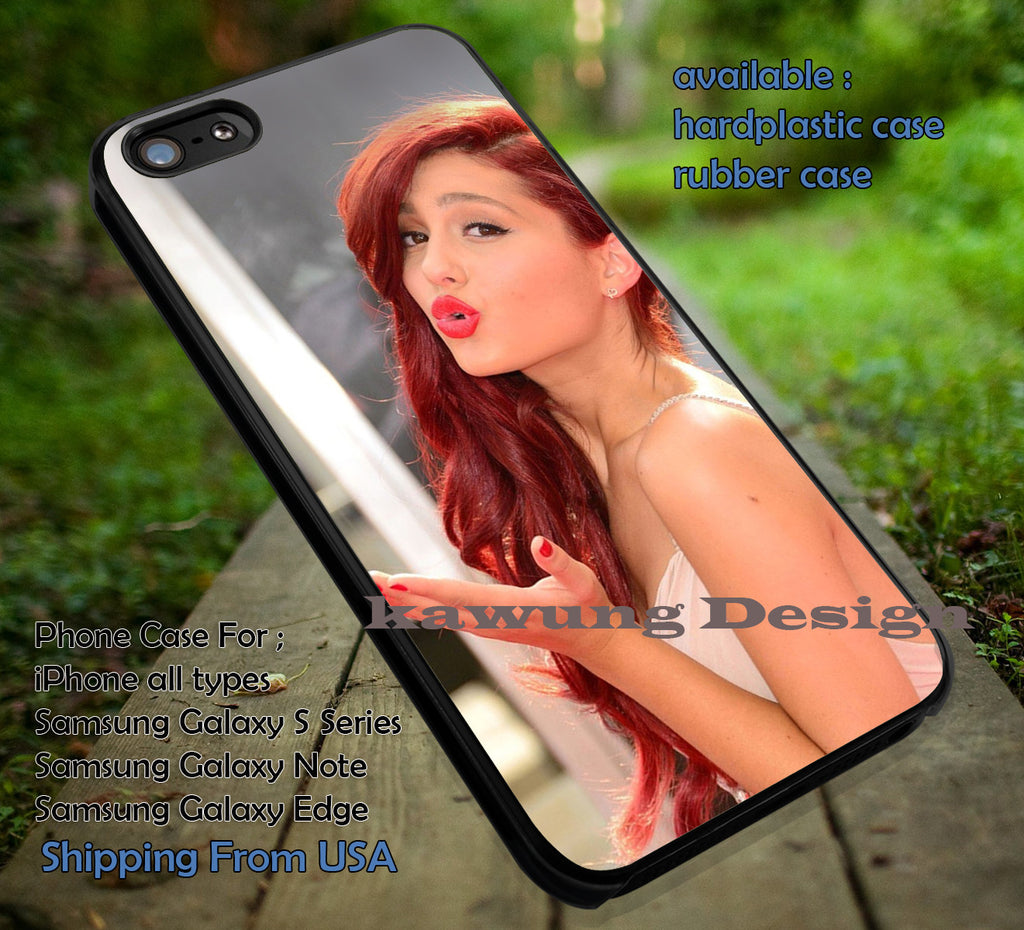 Ariana grande kiss bye red lips, kiss, bye, singer, ariana grande, case/cover for iPhone 4/4s/5/5c/6/6+/6s/6s+ Samsung Galaxy S4/S5/S6/Edge/Edge+ NOTE 3/4/5 #music #arn ii - Kawung Design  - 1
