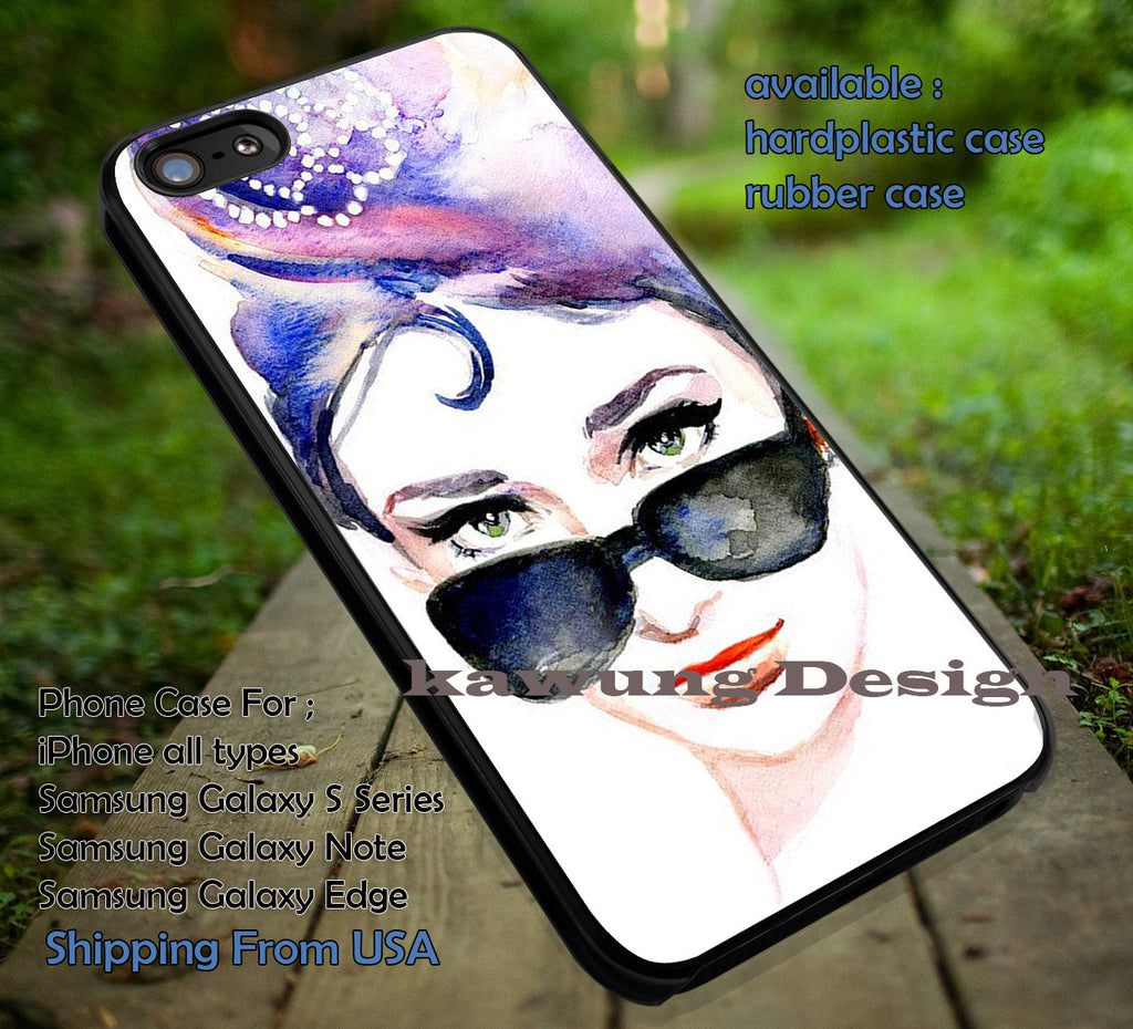 art paint in sunglasses, lana del rey, case/cover for iPhone 4/4s/5/5c/6/6+/6s/6s+ Samsung Galaxy S4/S5/S6/Edge/Edge+ NOTE 3/4/5 #music #lana ii - Kawung Design  - 1