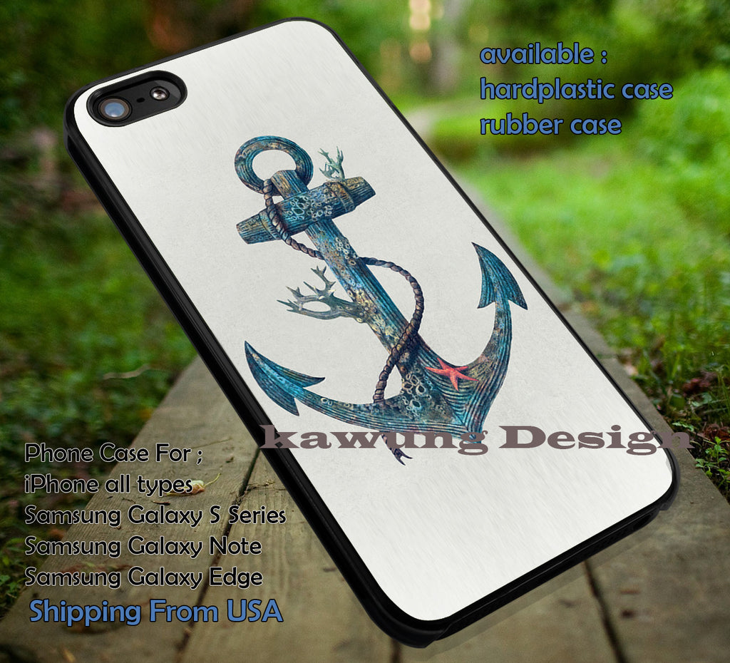 Artstic Blue Sea Anchor iPhone 6s 6 6s+ 6plus Cases Samsung Galaxy s5 s6 Edge+ NOTE 5 4 3 #art ii - Kawung Design  - 1