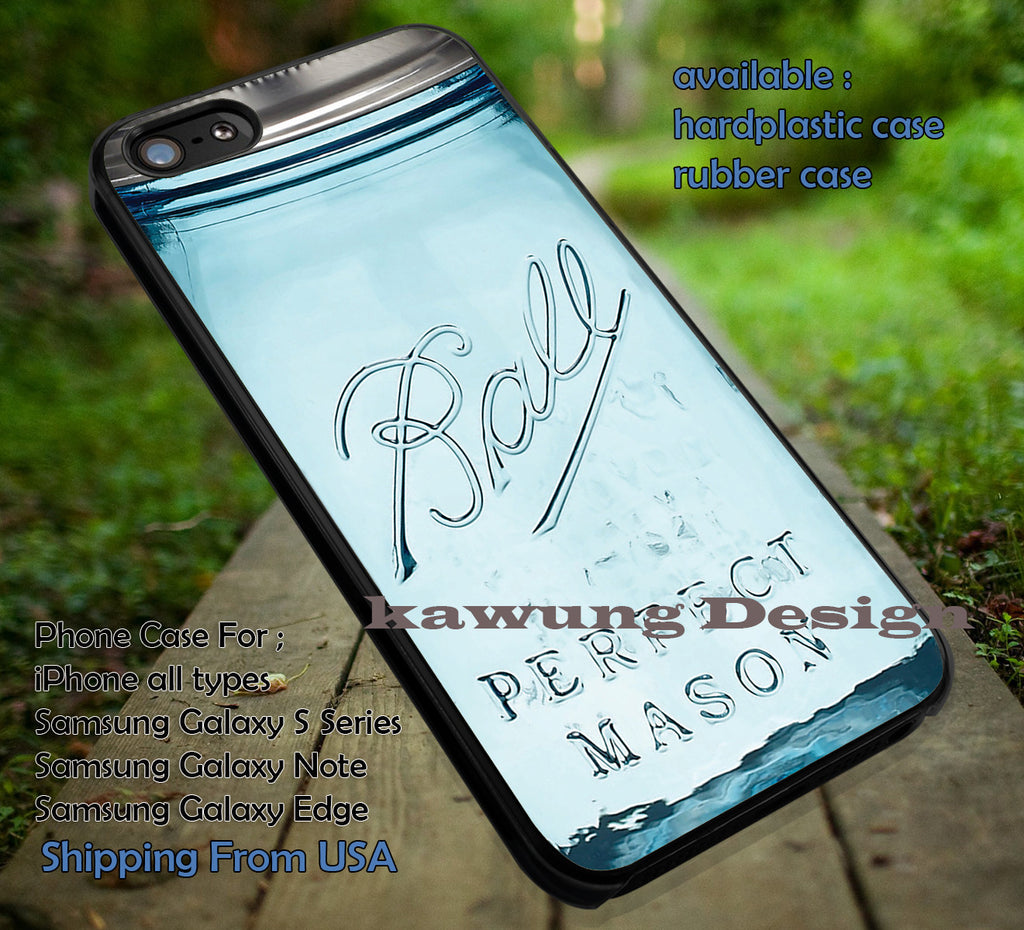 Ball Mason Jar Blue, case/cover for iPhone 4/4s/5/5c/6/6+/6s/6s+ Samsung Galaxy S4/S5/S6/Edge/Edge+ NOTE 3/4/5 #sport ii - Kawung Design  - 1