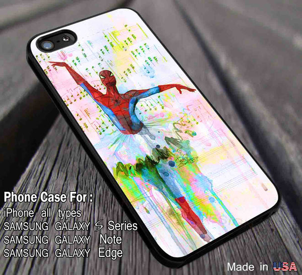 Ballet Water Color Art Hero | Spiderman | Marvel iPhone 6s 6 6s+ 5s 5c 4s Cases Samsung Galaxy s5 s6 Edge+ NOTE 5 4 3 #movie #cartoon #disney #animated #marvel #comic ii - Kawung Design  - 1