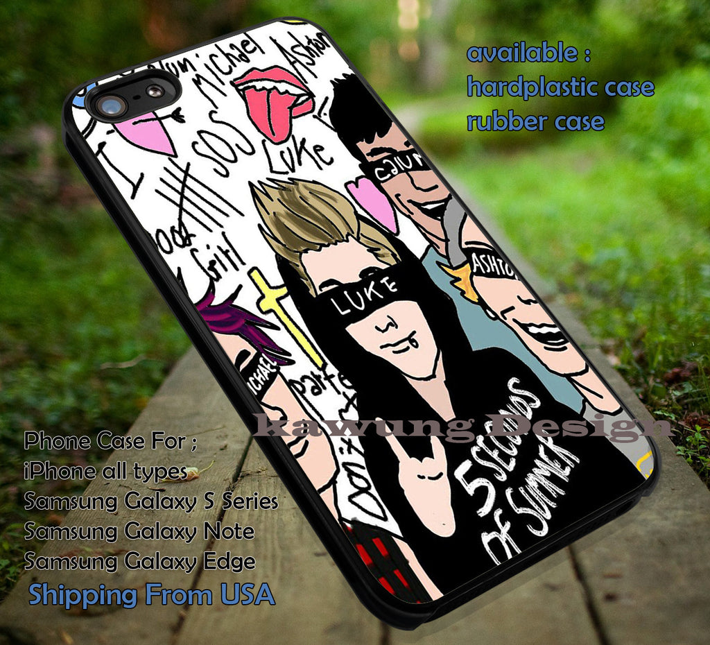 Band fana art collage case/cover for iPhone 4/4s/5/5c/6/6+/6s/6s+ Samsung Galaxy S4/S5/S6/Edge/Edge+ NOTE 3/4/5 #music #5sos ii - Kawung Design  - 1