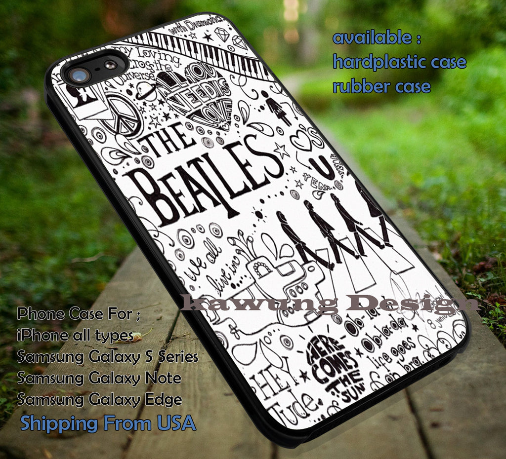 Beatles song collage, vintage fan art, The Beatles, case/cover for iPhone 4/4s/5/5c/6/6+/6s/6s+ Samsung Galaxy S4/S5/S6/Edge/Edge+ NOTE 3/4/5 #music #betls ii - Kawung Design  - 1