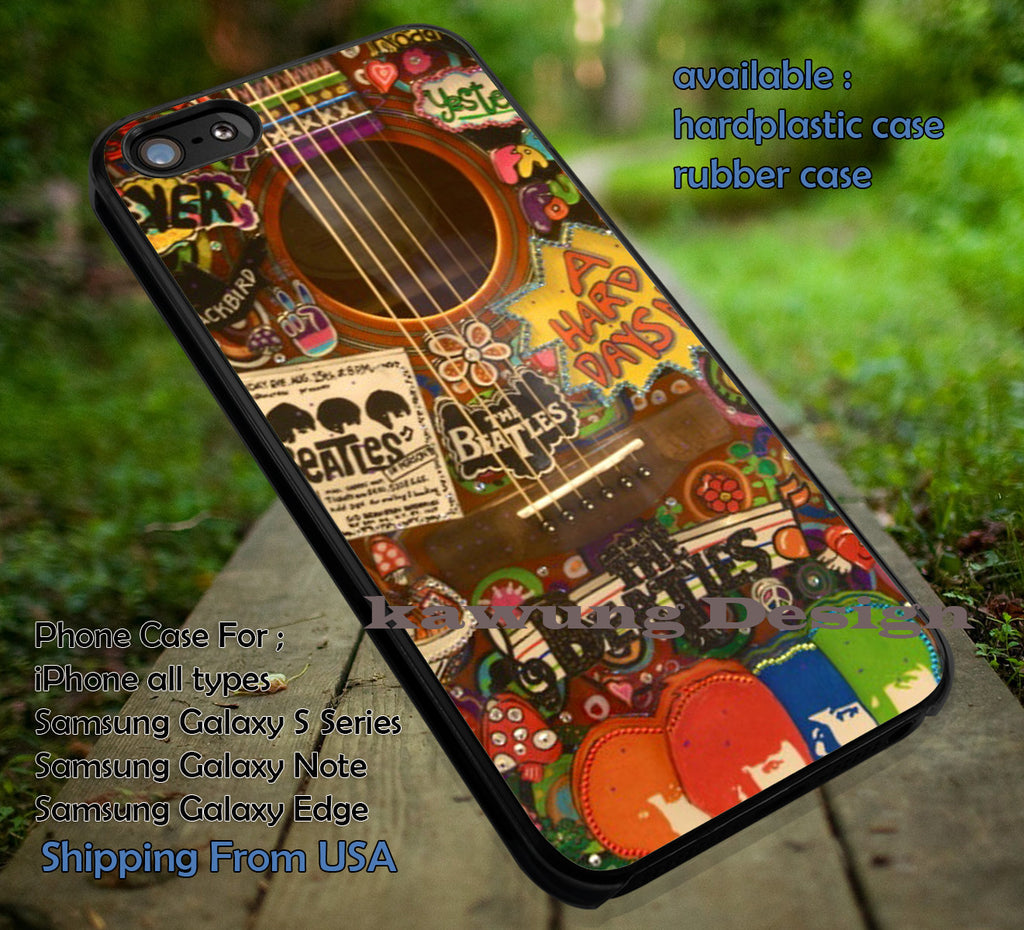 Beatles stickers on acoustic, guittar beatles, The Beatles, case/cover for iPhone 4/4s/5/5c/6/6+/6s/6s+ Samsung Galaxy S4/S5/S6/Edge/Edge+ NOTE 3/4/5 #music #betls ii - Kawung Design  - 1