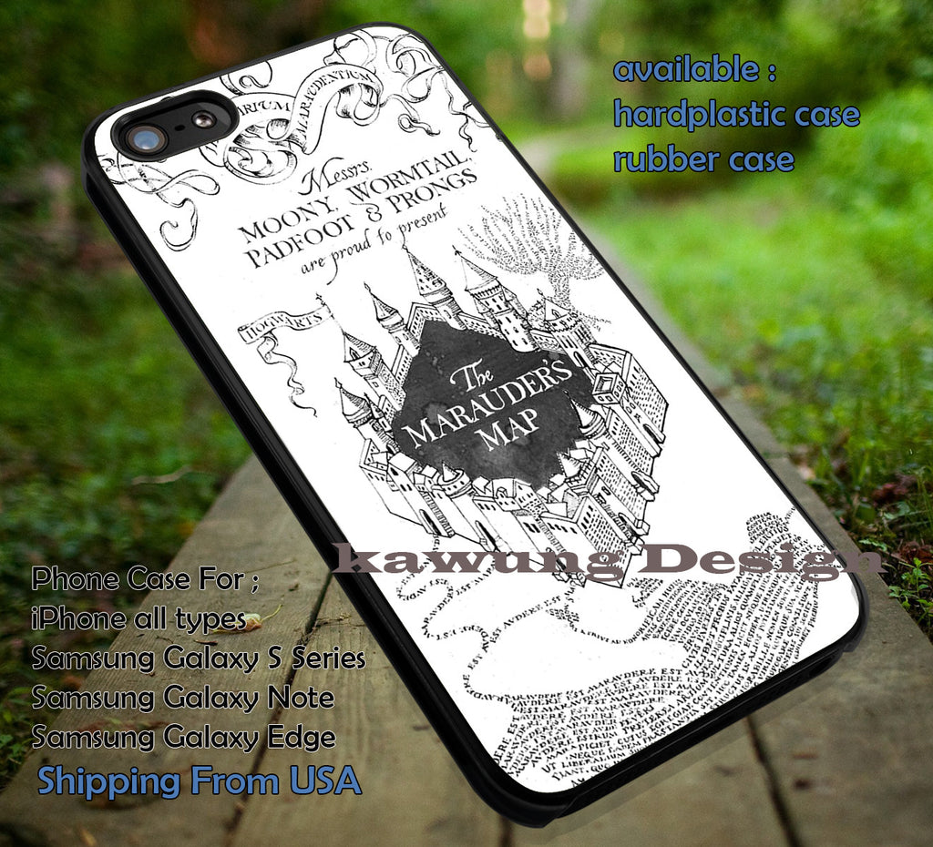 Black and White Harry Potter Marauders Map iPhone X 8+ 7 6s Cases Samsung Galaxy S8 S7 edge NOTE 8 5 4