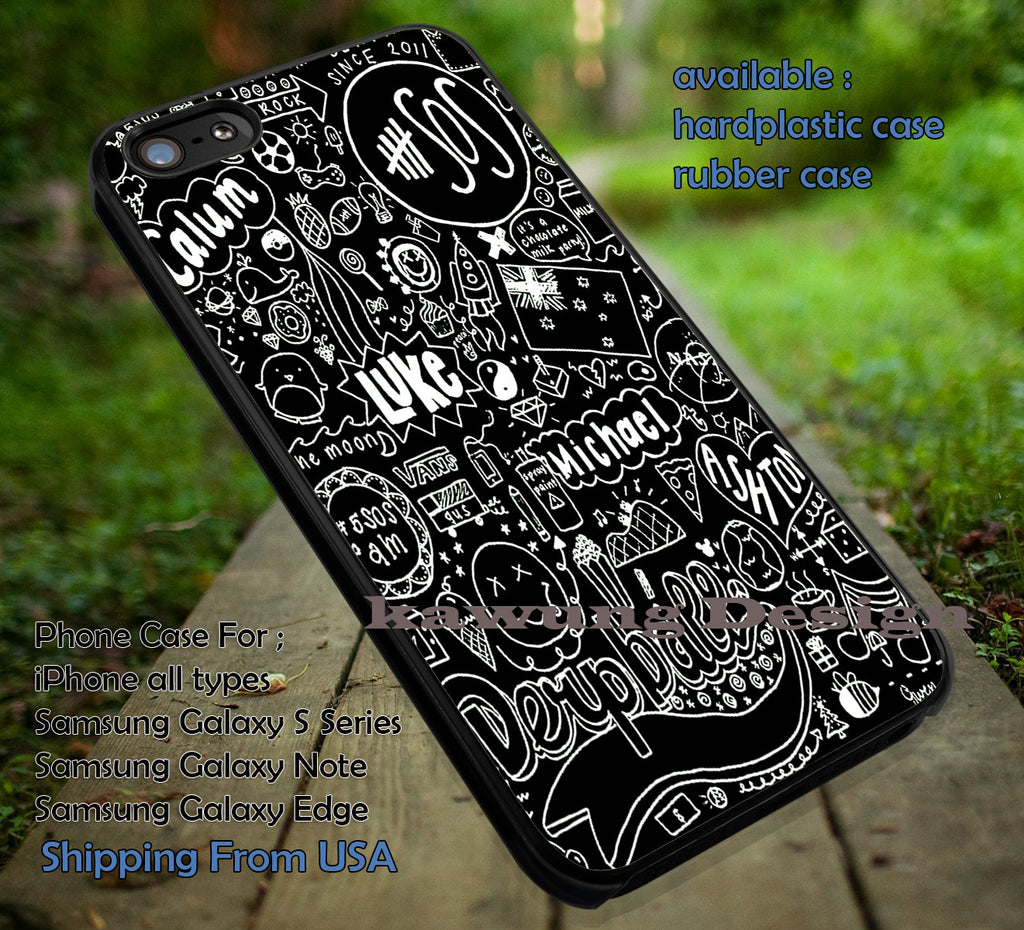 Black fan art collage, calum luke, ashton michael, 5sos, 5 Second of Summer, case/cover for iPhone 4/4s/5/5c/6/6+/6s/6s+ Samsung Galaxy S4/S5/S6/Edge/Edge+ NOTE 3/4/5 #music #cartoon #5sos ii - Kawung Design  - 1