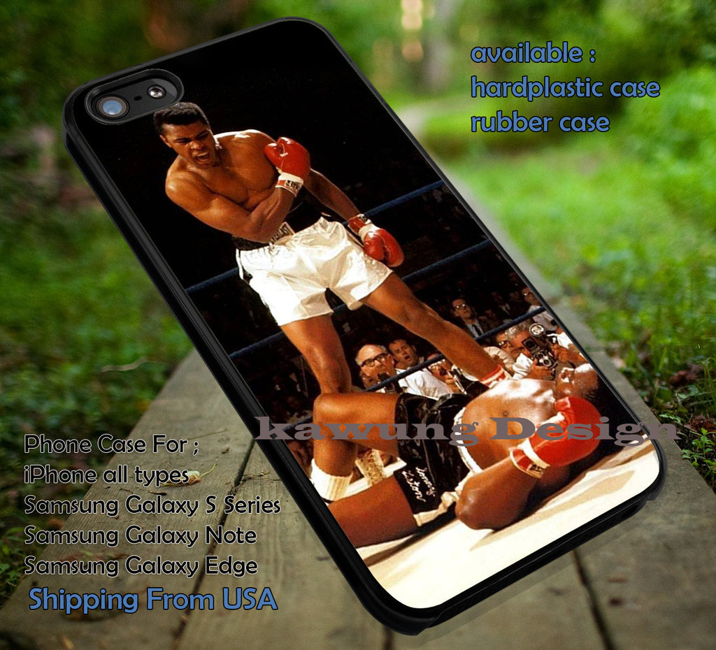 Boxer, Muhammad Ali, Boxing, Sport, On Ring, Winner, case/cover for iPhone 4/4s/5/5c/6/6+/6s/6s+ Samsung Galaxy S4/S5/S6/Edge/Edge+ NOTE 3/4/5 #sport ii - Kawung Design  - 1