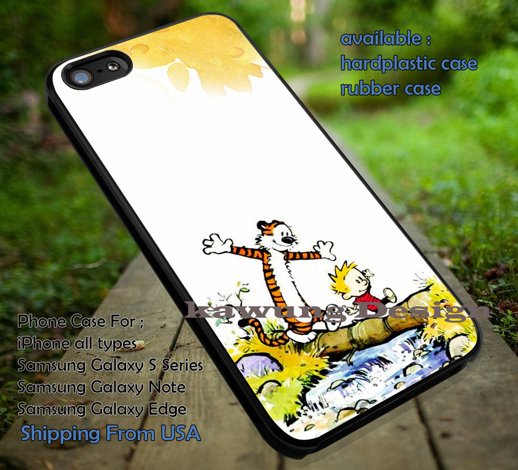 Calvin and Hobbes, Calvin Hobbes, River Art, Comic Vintage, case/cover for iPhone 4/4s/5/5c/6/6+/6s/6s+ Samsung Galaxy S4/S5/S6/Edge/Edge+ NOTE 3/4/5 #cartoon #anime #calvinandhobbes ii - Kawung Design  - 1