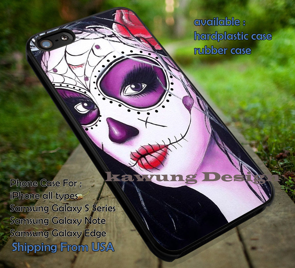 Candy Skull Black Hair Sugar Skull iPhone X 8+ 7 6s Cases Samsung Galaxy S8 S7 edge NOTE 8 5 4