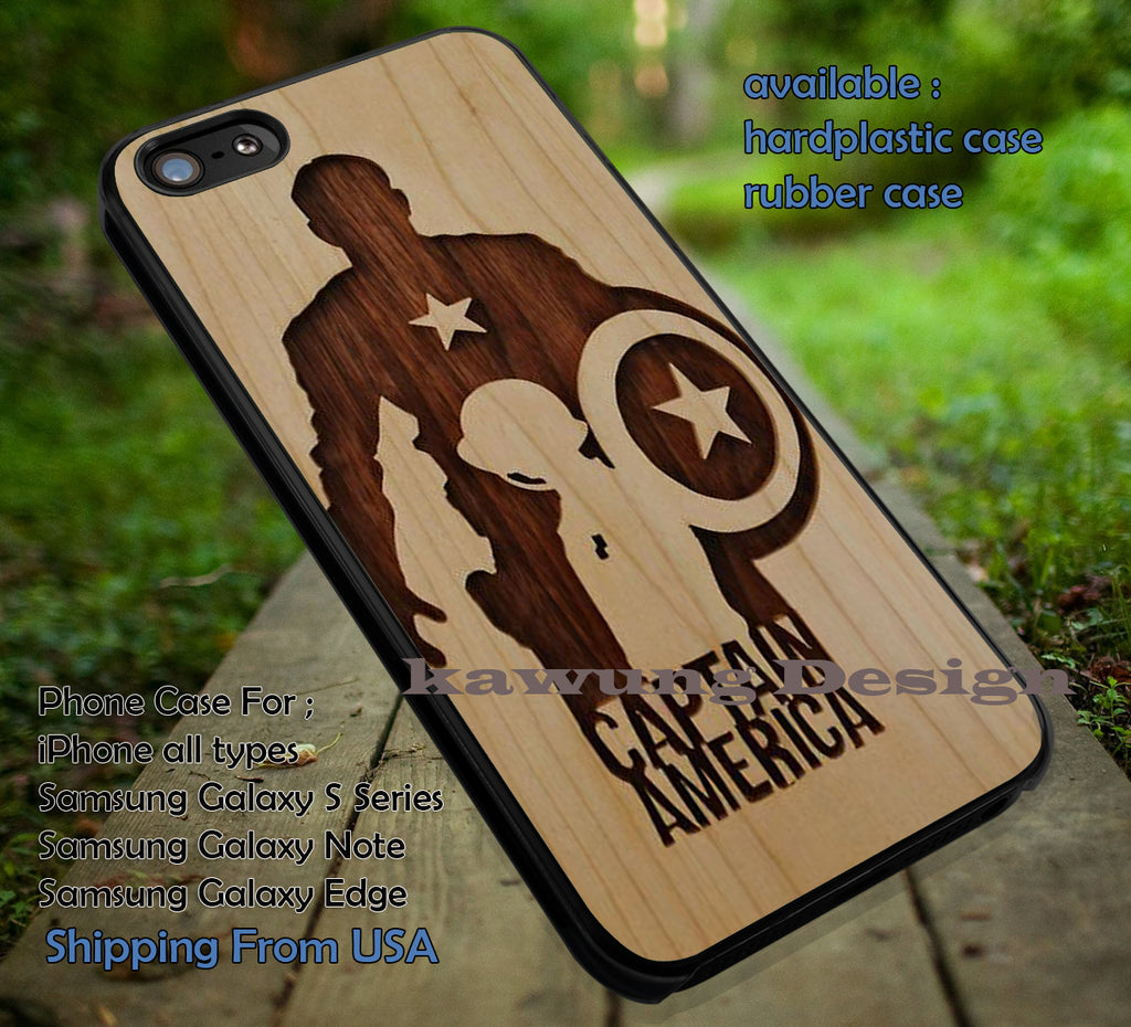 Captain America, Brown Silhouette, On Wood, Captain America, Avengers, Wood Decals, case/cover for iPhone 4/4s/5/5c/6/6+/6s/6s+ Samsung Galaxy S4/S5/S6/Edge/Edge+ NOTE 3/4/5 #cartoon #disney #animated  #marvel #comic #movie ii - Kawung Design  - 1