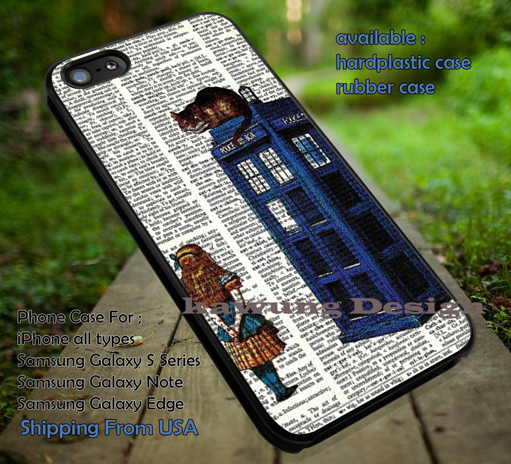 Chesire On Police Box, Alice In Wonderland, Disney Dictionary, case/cover for iPhone 4/4s/5/5c/6/6+/6s/6s+ Samsung Galaxy S4/S5/S6/Edge/Edge+ NOTE 3/4/5 #cartoon #anime #alice ii - Kawung Design  - 1