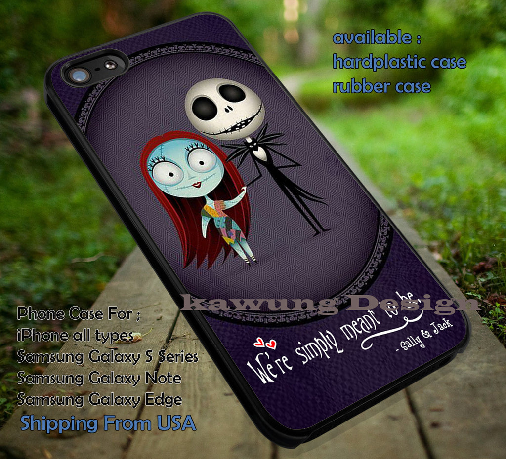 Chibi Art Simply Meant To Be | Jack and Sally | Nightmare Christmass | Disney | case/cover for iPhone 4/4s/5/5c/6/6+/6s/6s+ Samsung Galaxy S4/S5/S6/Edge/Edge+ NOTE 3/4/5 #cartoon #disney #theNightmareBeforeChristmas ii - Kawung Design  - 1