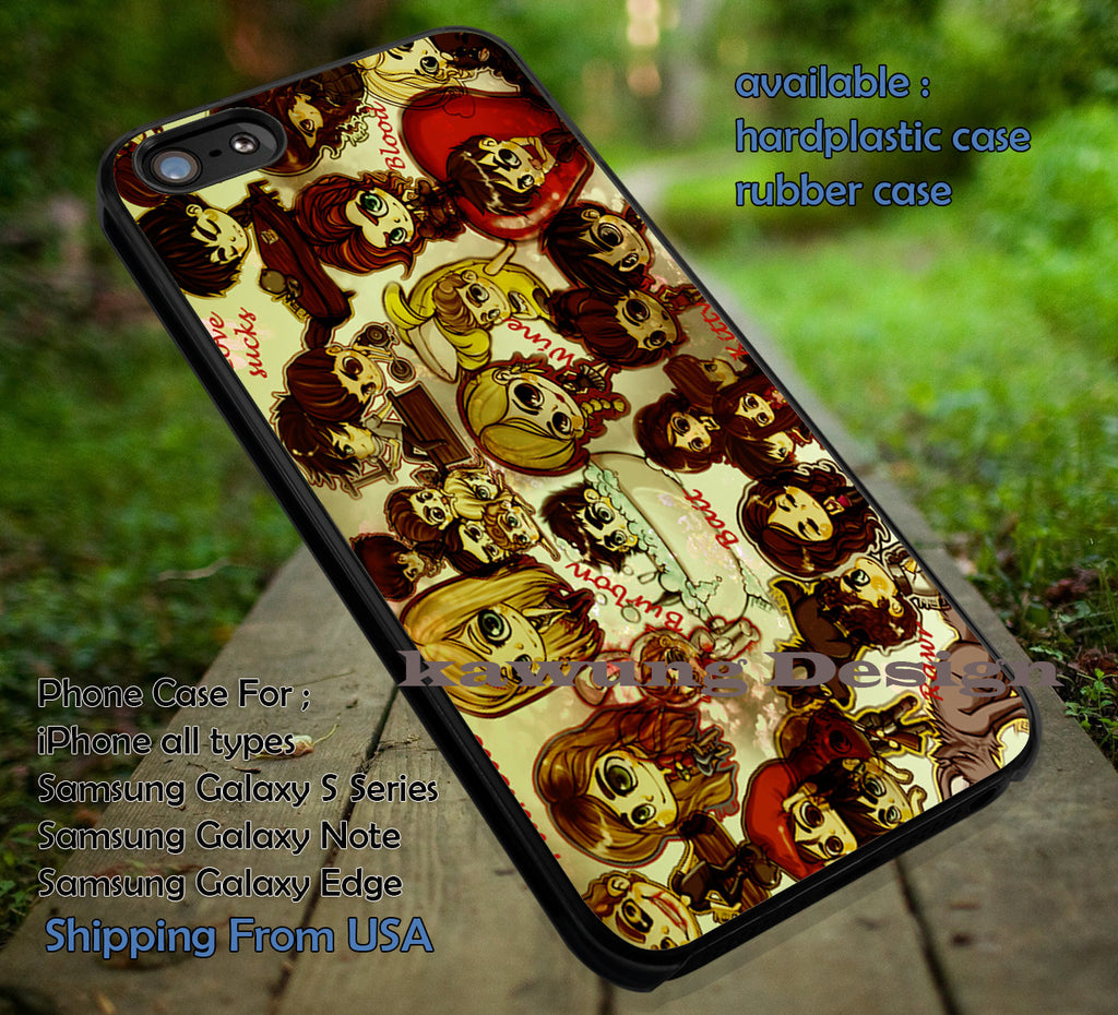Chibi Vampire | Vampire Diaries | Damon | Buffy Slayer | case/cover for iPhone 4/4s/5/5c/6/6+/6s/6s+ Samsung Galaxy S4/S5/S6/Edge/Edge+ NOTE 3/4/5 #cartoon ii - Kawung Design  - 1