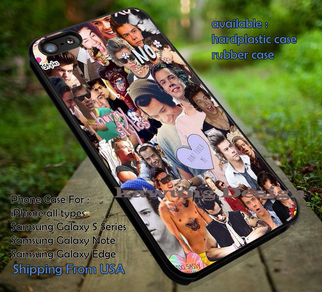 Collage art,Harry Styles,One Direction,1D,iphone6 6plus,the 1975 case/cover for iPhone 4/4s/5/5c/6/6+/6s/6s+ Samsung Galaxy S4/S5/S6/Edge/Edge+ NOTE 3/4/5 #music #1d ii - Kawung Design  - 1
