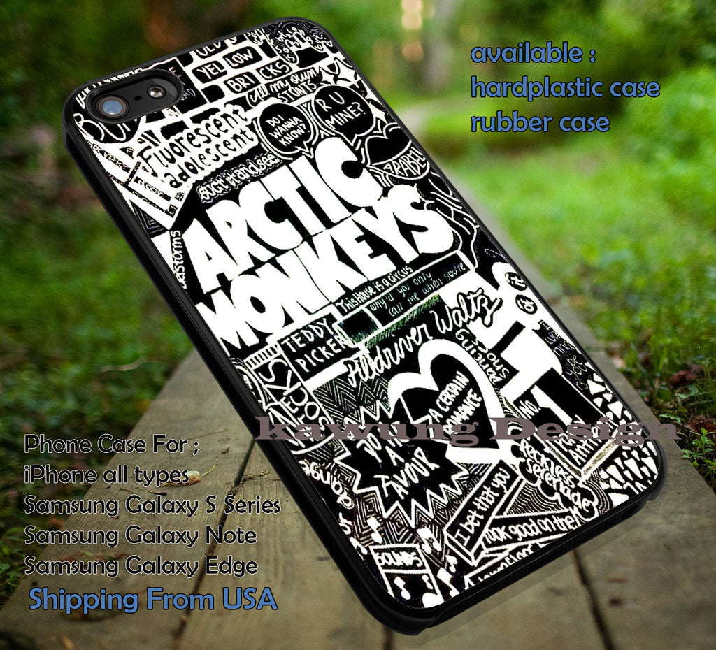 Collage art lyric monkeys, logo band, arc, arctic monkeys, case/cover for iPhone 4/4s/5/5c/6/6+/6s/6s+ Samsung Galaxy S4/S5/S6/Edge/Edge+ NOTE 3/4/5 #music #arc #cartoon  ii