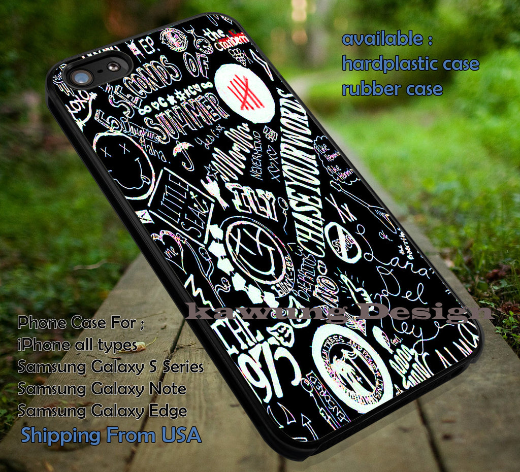collage band on black punk, nirvana, the 1975 , blink , 5 Second of Summer, case/cover for iPhone 4/4s/5/5c/6/6+/6s/6s+ Samsung Galaxy S4/S5/S6/Edge/Edge+ NOTE 3/4/5 #music #5sos ii - Kawung Design  - 1