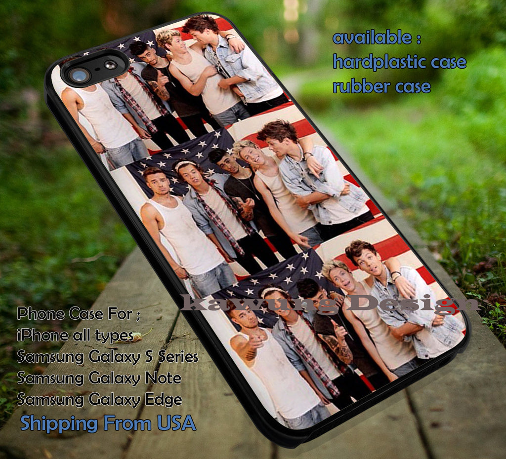 Collage boy band, America flag,One Direction,Harry styles,iphone6 6plus,5sos,fabulous case/cover for iPhone 4/4s/5/5c/6/6+/6s/6s+ Samsung Galaxy S4/S5/S6/Edge/Edge+ NOTE 3/4/5 #music #1d ii - Kawung Design  - 1